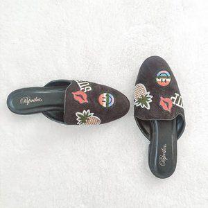 Paprika Black Embroidered Flat Loafer Slip On Shoe